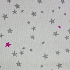 Piqué de coton à étoiles grises et fuchsia
