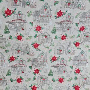 Coton châlets thème Noël