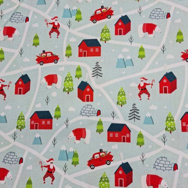 maison rouge, igloo, père noël, voiture rouge, sapins