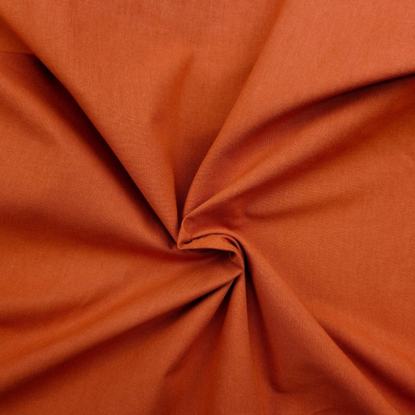 coton uni, bio, rouille, orange, brique