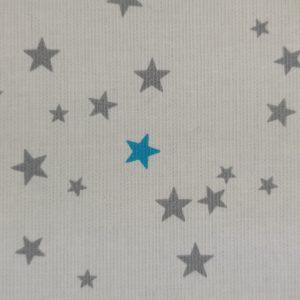 Piqué de coton à étoiles grises et bleu cyan