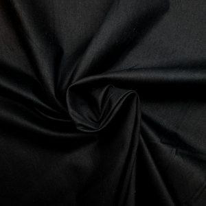 Popeline de coton bio unie noire