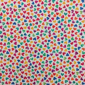 Coton imprimé motif coeurs multicolores
