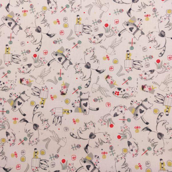 coton, imprimé, fond rose pâle, petit chat, gris, noir, rouge