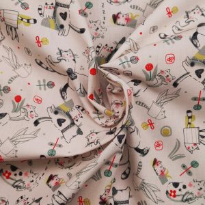 Coton imprimé motif petits chatons