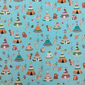 Coton imprimé motif tipis indiens