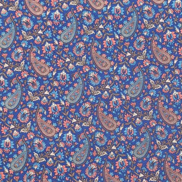 coton, imprimé, motif cachemir, fond violet
