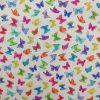 coton, imprimé, joli papillon, coloré, rouge, bleu, jaune, vert, orange