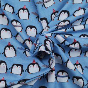 Coton imprimé motifs pingouins