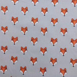 Coton imprimé motif jolies têtes de renard
