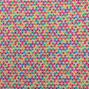 Coton imprimé motif triangles multicolores