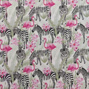 Coton imprimé motif zèbres et flamants roses