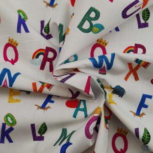 Coton imprimé motif lettres de l'Aphabet