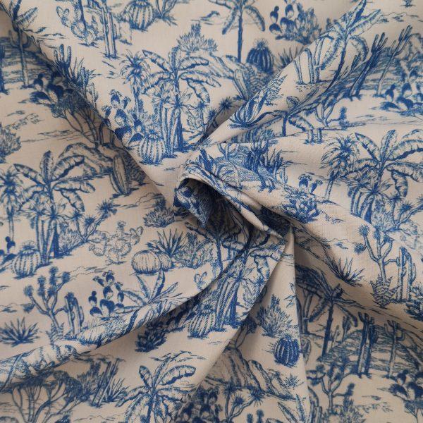 coton, imprimé, motif exotique, bleu