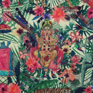 Coton imprimé thème éléphants hindous