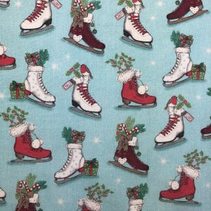 Coton thème Noël imprimé patins à glace