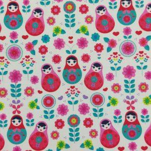 Coton imprimé motif poupées matriochkas
