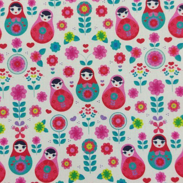 coton, imprimé, poupée matriochka, poupée russe, rose, bleu, fond blanc