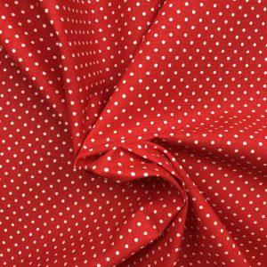 Coton rouge vermillon à pois