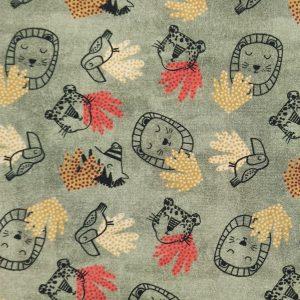 Coton imprimé dessins têtes de lions, tigres et zèbres