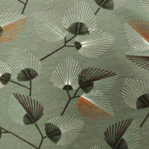 Jersey bio kaki imprimé feuillage
