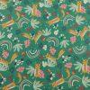 coton, renard, cerises, arc-en-ciel, feuilles, vert, rouge, rose, caramel