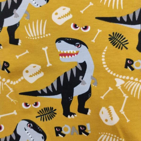 jersey, tyrannosaures, skelettes, os, moutarde, noire, gris, blanc