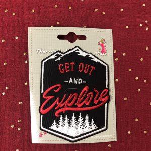 Badge thermocollant «Explore» noir/rouge