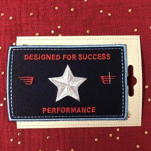 Badge thermocollant «Performance» marine/gris