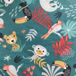 Coton imprimé les animaux de la jungle