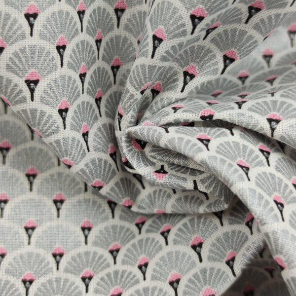 coton, éventail, gris argenté, noir, blanc, rose