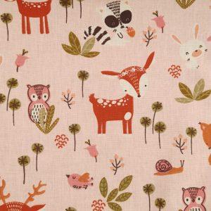 Coton forêt enchantée fond rose
