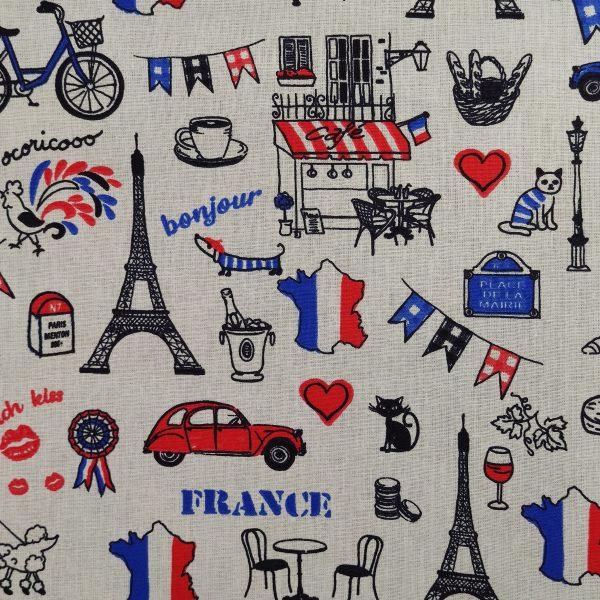 Coton thème France, tour eiffel, fanions