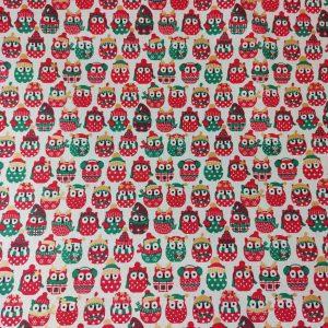 Coton imprimé hiboux thème hiver