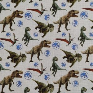 Coton fond blanc «Jurassic Park»