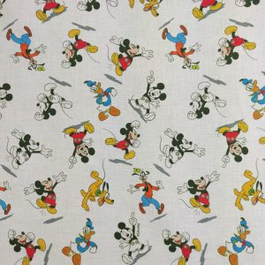 Coton fond blanc «Mickey Mouse et sa compagnie»
