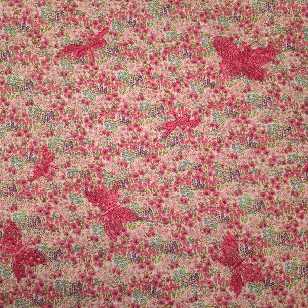 coton, rose, fleurs, papillons