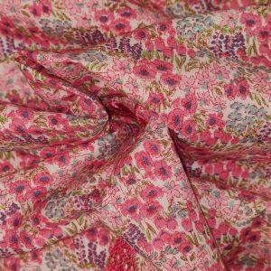 Coton papillons brodés et fleurs roses