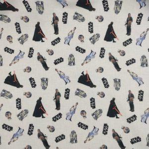 Coton bio fond blanc «Star wars»