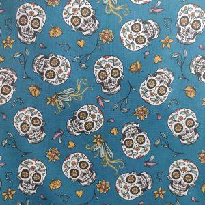 Coton têtes de morts mexicaines bleu paon
