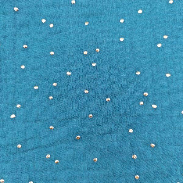 double gaze, gaze de coton, bleu paon, pois or, coton