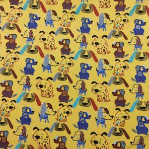 Sweat bio fond moutarde motifs chiens