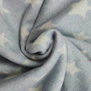 Polaire coton bio fond bleu ciel étoiles blanches