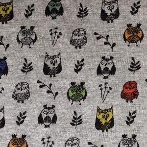 Sweat fond gris motif chouettes