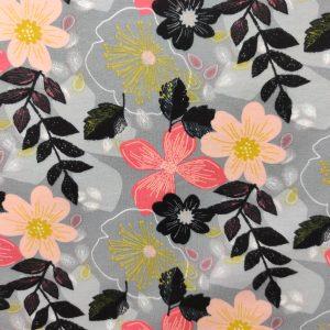 Sweat léger bio fleuri fond gris