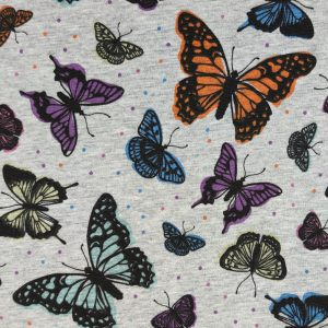Sweat envolée de papillons fond gris