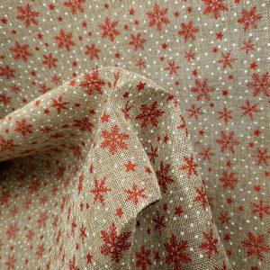 Toile de jute imprimée de flocons rouges