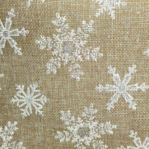 Toile de jute imprimée de flocons blancs thème Noël