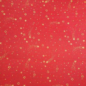Toile de jute rouge imprimée d'étoiles dorées