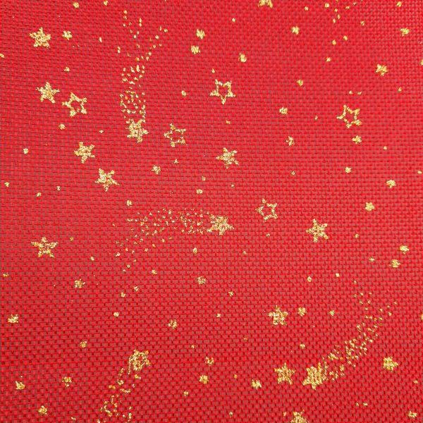 toile de jute, noel, dorée, rouge, étoilée, étoile filante